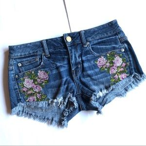 AE | Embroidered Denim Shorties